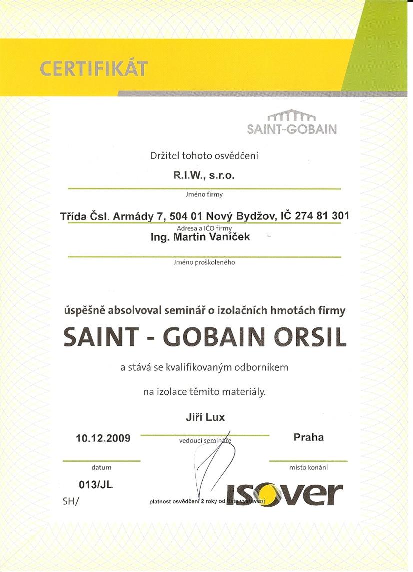 Certifikát SAINT - GOBAIN
